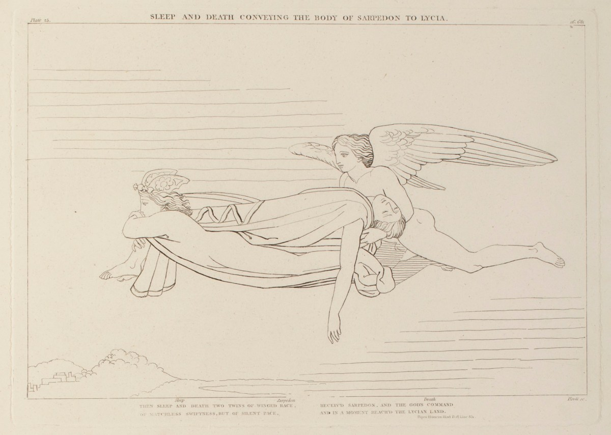 Evans, Robert Harding; Flaxman, John; John and Arthur Arch; Longman, Hurst, Rees and Orme; Piroli, Tommaso; <I>The Iliad of Homer engraved from the Compositions of John Flaxman R.A., sculptor</I>, London 1805; Sleep and Death Conveying the Body of Sarpe...