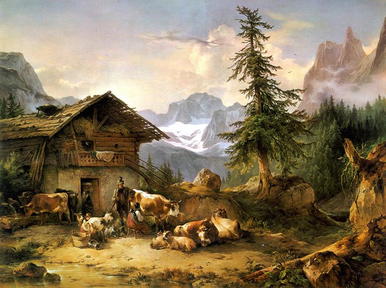 Die_Gosau-Alm_mit_dem_Dachstein_Friedrich_Gauermann_1846