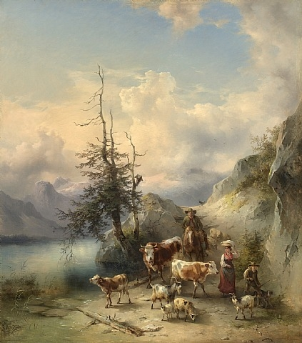 Friedrich_Gauermann_The_Return_of_the_Herd_from_the_High_Pastures_1855
